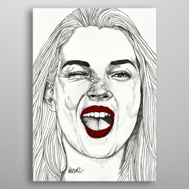 Kate with the Red Lips Part of my 'Red Lips' series of illustrations. The Original illustration is on A4 fine grain cartridge paper, 160g, ac... metal poster