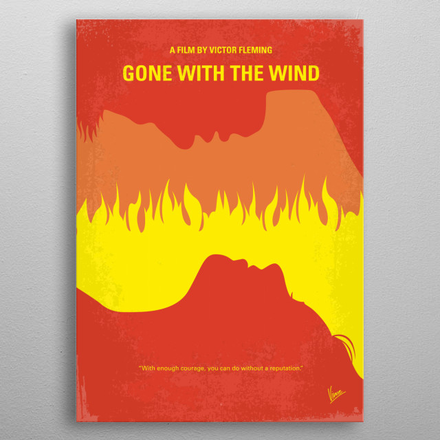 No299 My Gone With the Wind minimal movie poster  A manipulative Southern belle carries on a turbulent affair with a blockade runner during the American Civil War.  Directors: Victor Fleming Stars: Clark Gable, Vivien Leigh, Thomas Mitchell metal poster