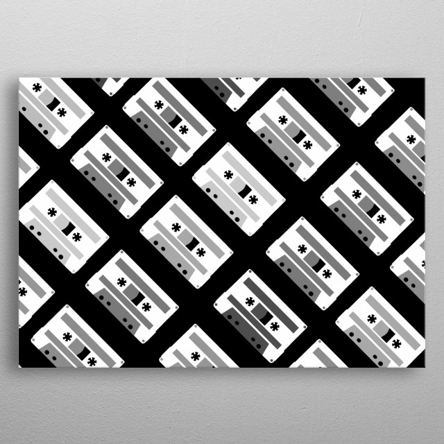 Black and White Tapes 45 metal poster