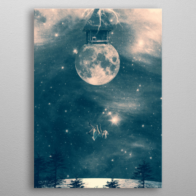 ONE DAY I FELL FROM MY MOON COTTAGE metal poster