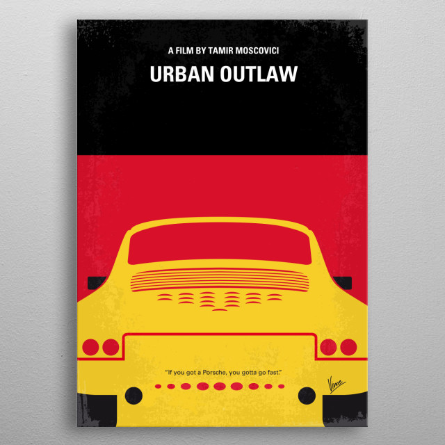 No316 My URBAN OUTLAW minimal movie poster  A portrait of Magnus Walker, the rebel Porsche customizer who turned a hobby into an obsession, and an obsession into a successful business. From a workshop in downtown Los Angeles, Magnus obsessively harvests fragments from donor 911s, grafting them onto vintage frames to create one-off automobiles with the spirit of Ferdinand Porsche but an ethos entirely his own. URBAN, OUTLAW, Magnus, Walker, Porsche, custom, hobby, obsession, 911, LA, Los Angeles, metal poster