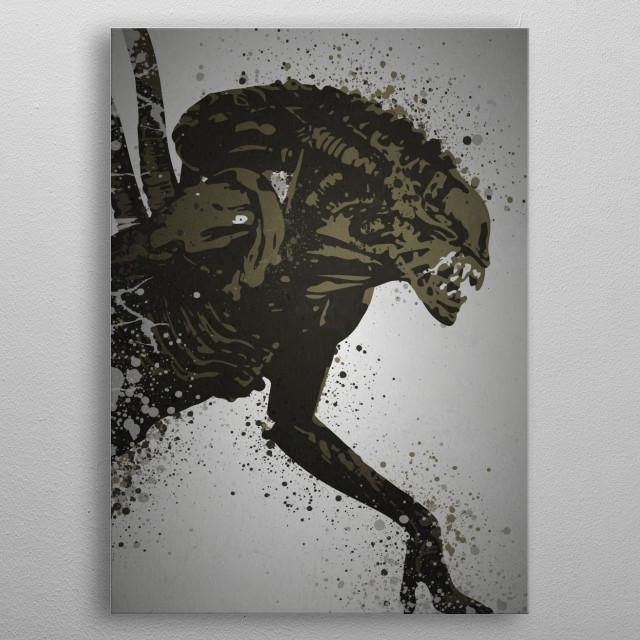 Alien Splatter effect artwork inspired by the xenomorph from Alien metal poster