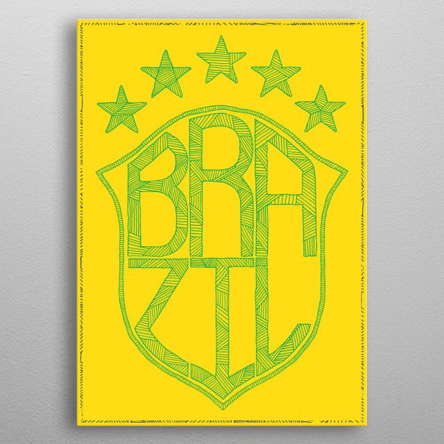 Brazil football badge metal poster