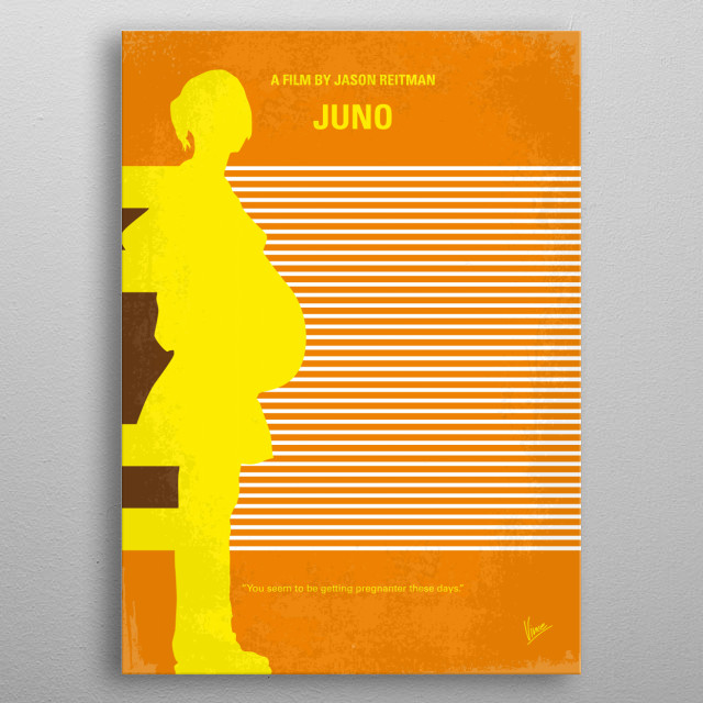 No326 My JUNO minimal movie poster  Faced with an unplanned pregnancy, an offbeat young woman makes an unusual decision regarding her unborn ... metal poster