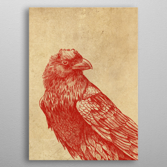Red Raven metal poster