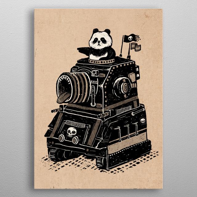 Panda's Terrible Tank of Terror - Vintage Style metal poster