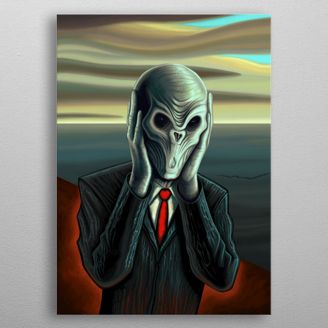Silent Scream - Portrait of the Silence, an alien creature from the science fiction television series Doctor Who. Mixed with the famous painting the Scream by Edvard Munch. metal poster