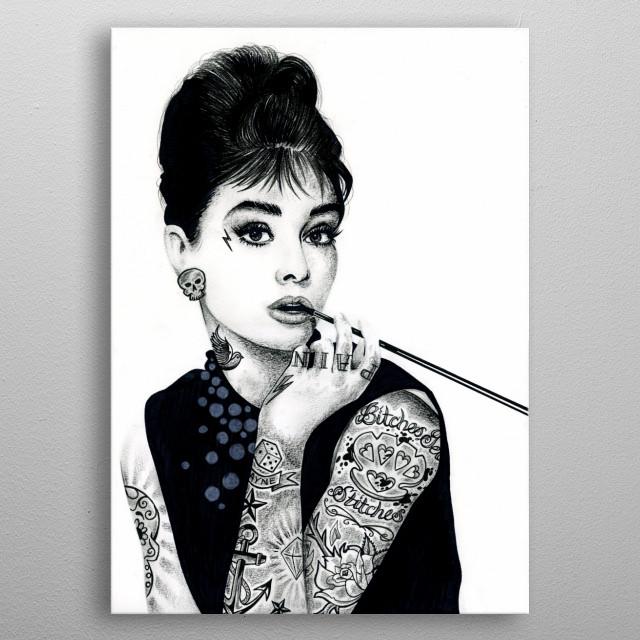 Hepburn inked metal poster