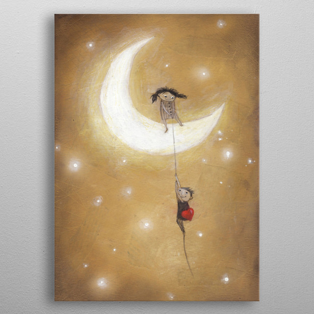 love on the moon metal poster