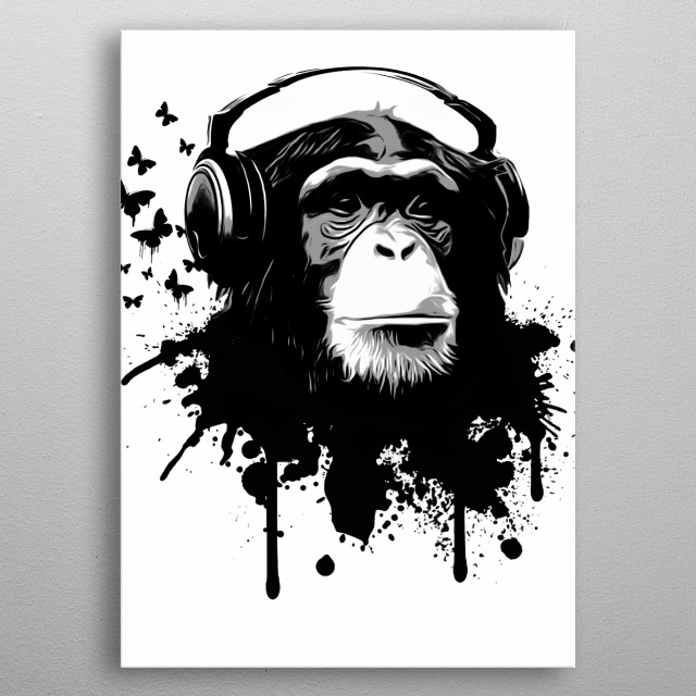 Monkey Business - White   Butterfly brush used in this piece comes from;  metal poster