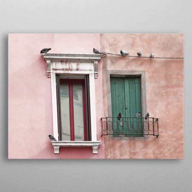 Venetian Windows and Pigeons in Rose Pink and Green metal poster