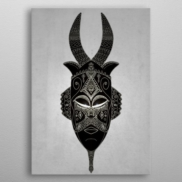 Horned tribal mask. metal poster
