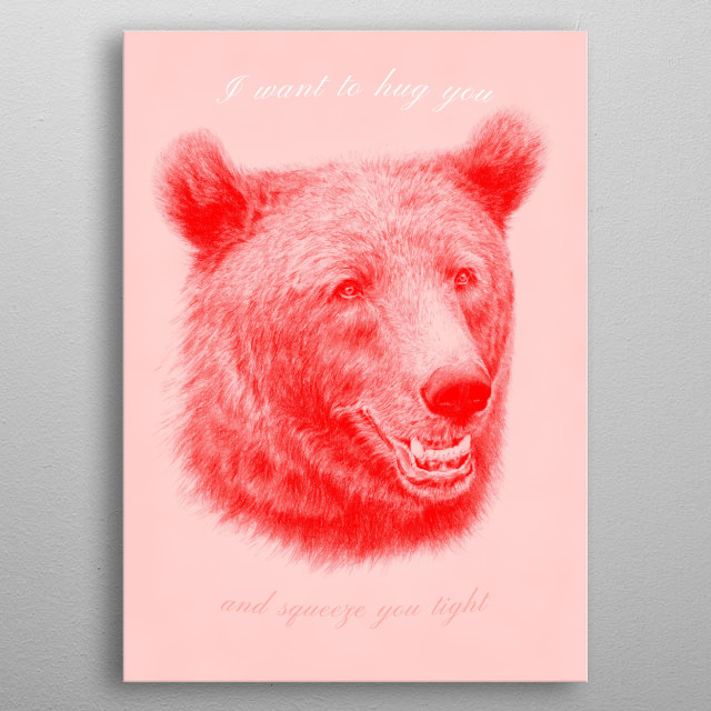 Red and pink bear hug and love metal poster