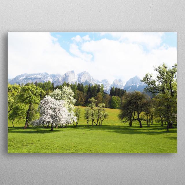 Green Spring Austrian Landscape metal poster
