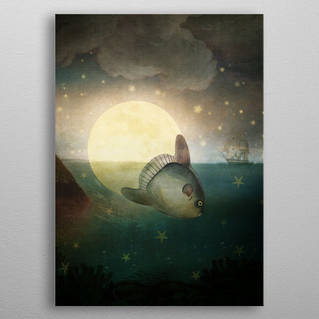 The Fish That Stole The Moon metal poster