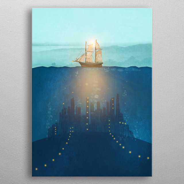 The Underwater City that was destroyed before the whale got to the ship. metal poster