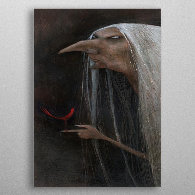red bird metal poster
