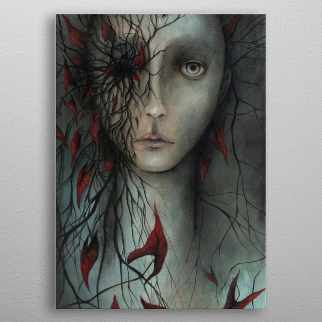spirit of red leaves metal poster