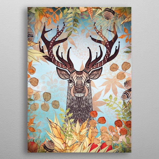 AUTUMN STAG metal poster