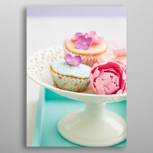 Decorated cupcakes metal poster