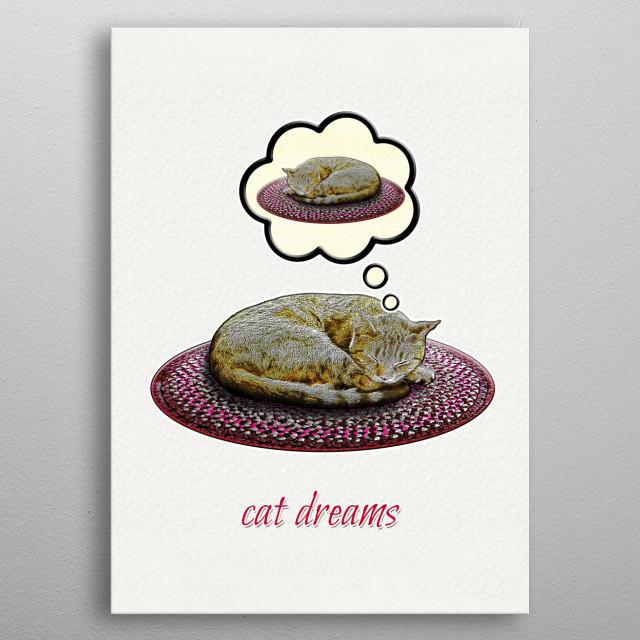 Cat Dreams metal poster