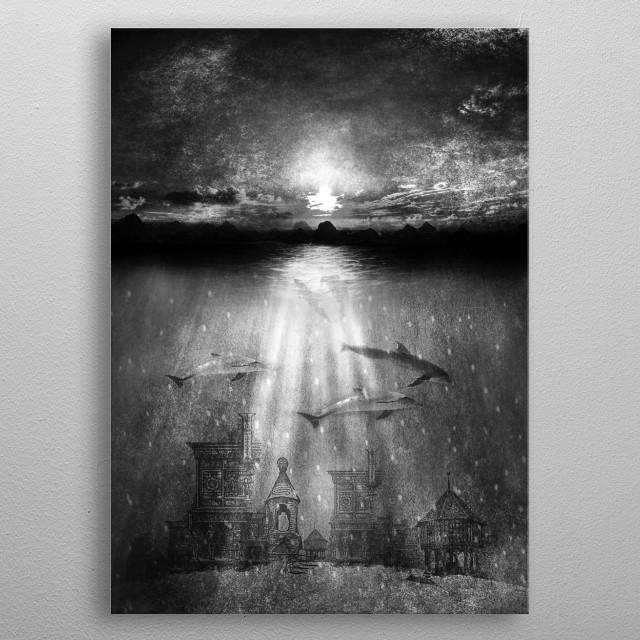 dolphins, civilization. metal poster