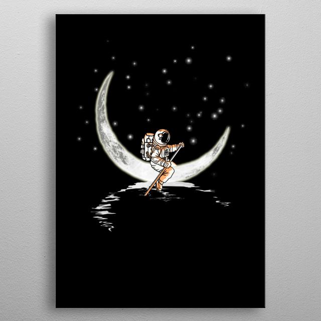 Sailing Across the Moon metal poster