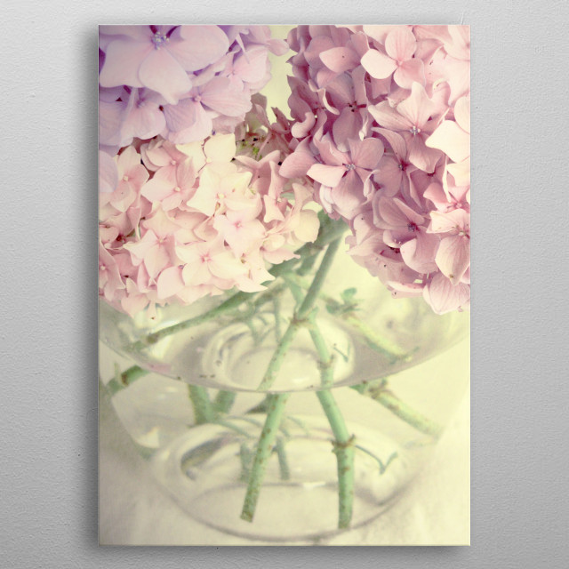 Pink Summer Flowers, photograph by ZenaZero copyright 2014 metal poster