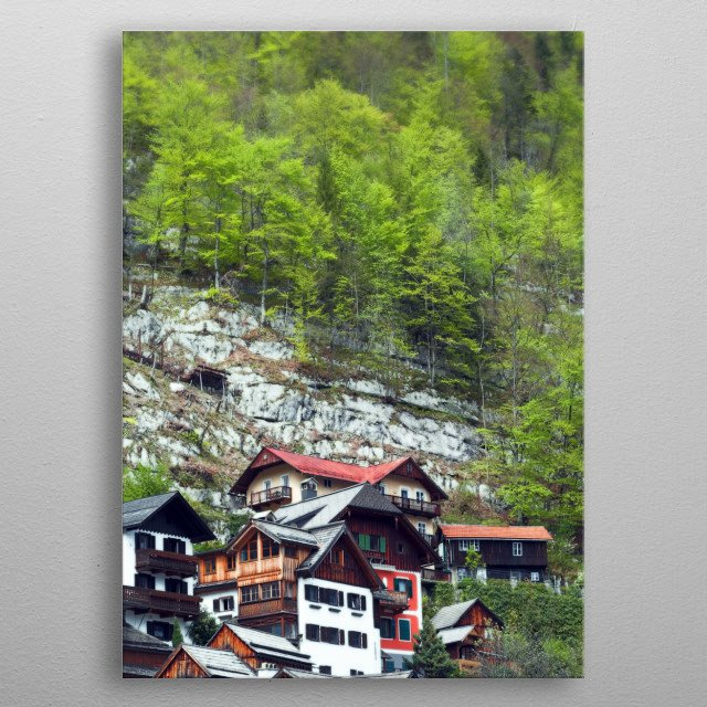 Chalets on the Mountainside metal poster