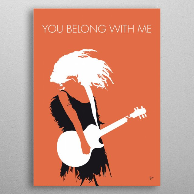 No043 MY TAYLOR SWIFT Minimal Music poster, you Belong, with Me, country, pop, song, love, metal poster