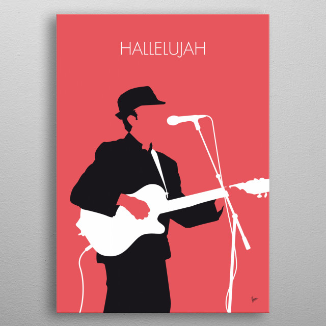 No042 MY LEONARD COHEN Minimal Music, Hallelujah, singer, songwriter, John, Cale, Jeff, Buckley, greatest, songs, all time, metal poster