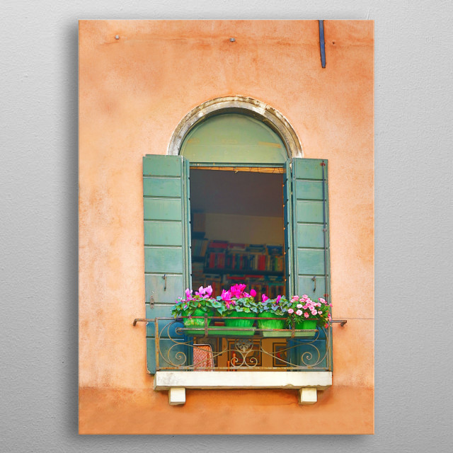 Terra Cotta Stucco Building and Green Window in Venice metal poster