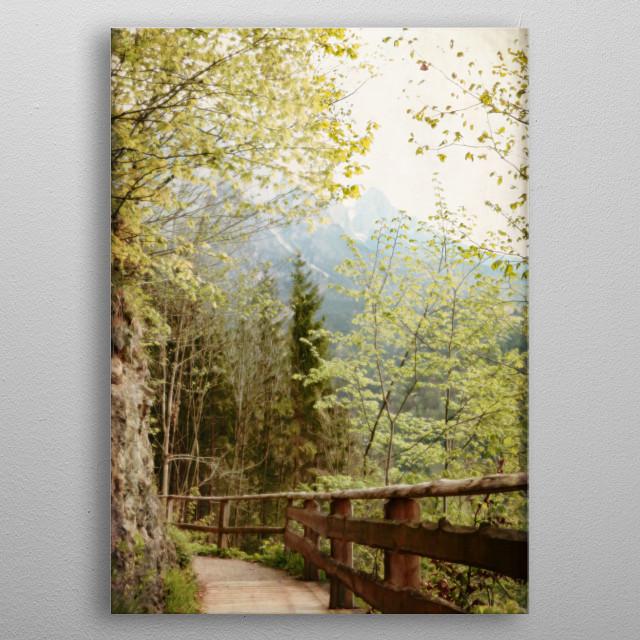 Boardwalk Through Mountains - Werfen, Austria metal poster