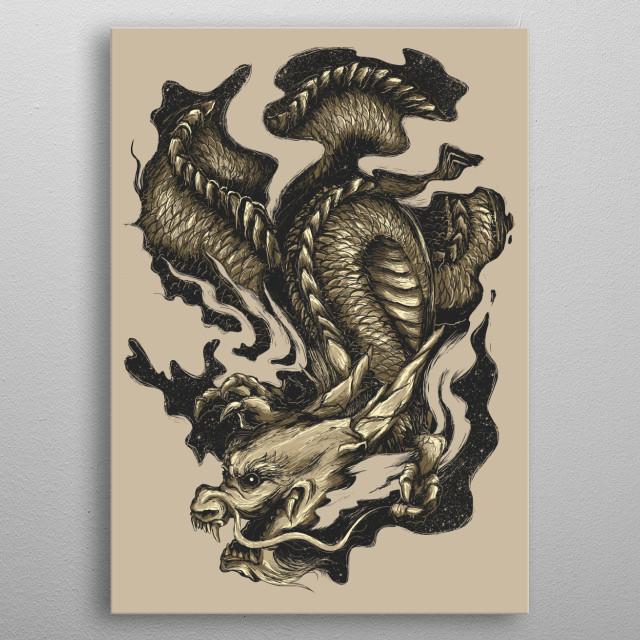 Golden Dragon metal poster