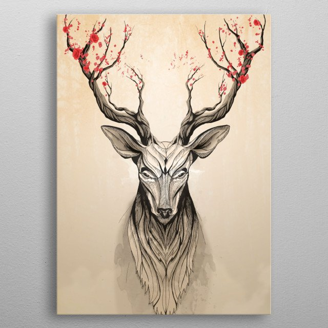 Deer Tree metal poster