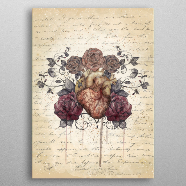 Flowers from my heart metal poster