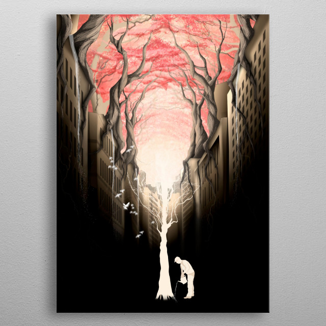 Revenge of the nature II: growing red forest above the city. metal poster