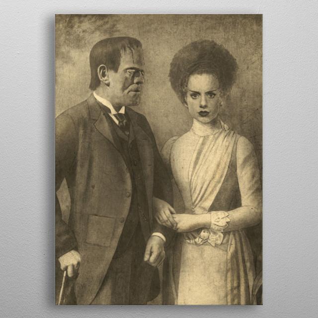 Mr. and Mrs. Frankenstein metal poster