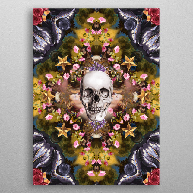 Floral abstract rennaisance collage with a skull metal poster