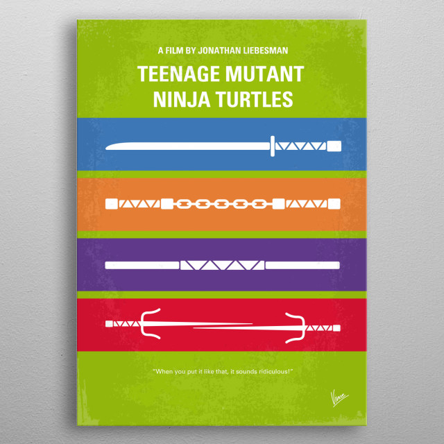 No346 My Teenage Mutant Ninja Turtles minimal movie poster  A group of mutated warriors face off against an evil kingpin who wants to take ov... metal poster
