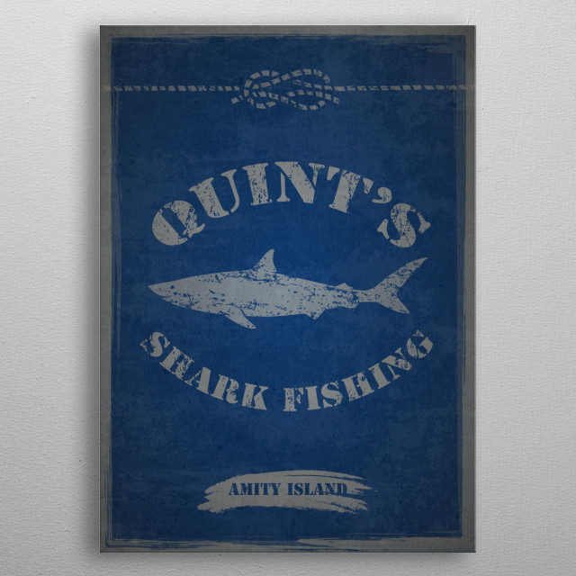 Vintage, subtle poster inspired by the film Jaws metal poster