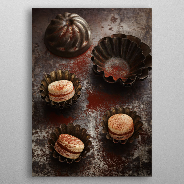 French macarons on rustic board in antique vintage baking tins metal poster