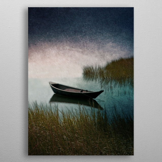 Wooden Canoe Reflection metal poster