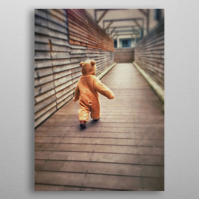 Baby bear taking a stroll metal poster