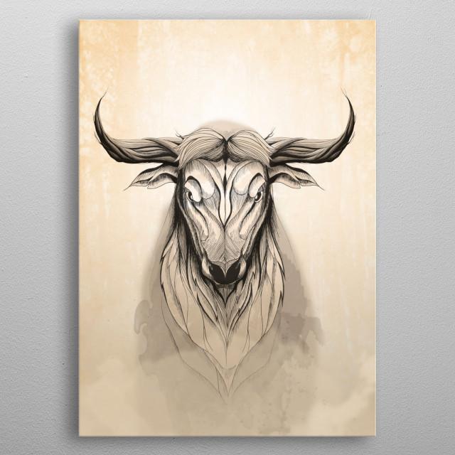 Deer Bull metal poster