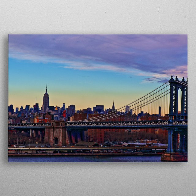 Manhattan Bridge with the Empire State Building in the background metal poster