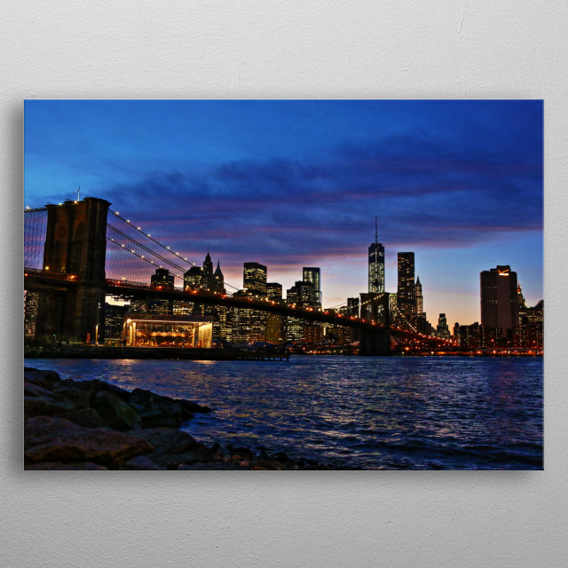 The Brooklyn Bridge and World Trade Center One at Sunset/Twilight metal poster