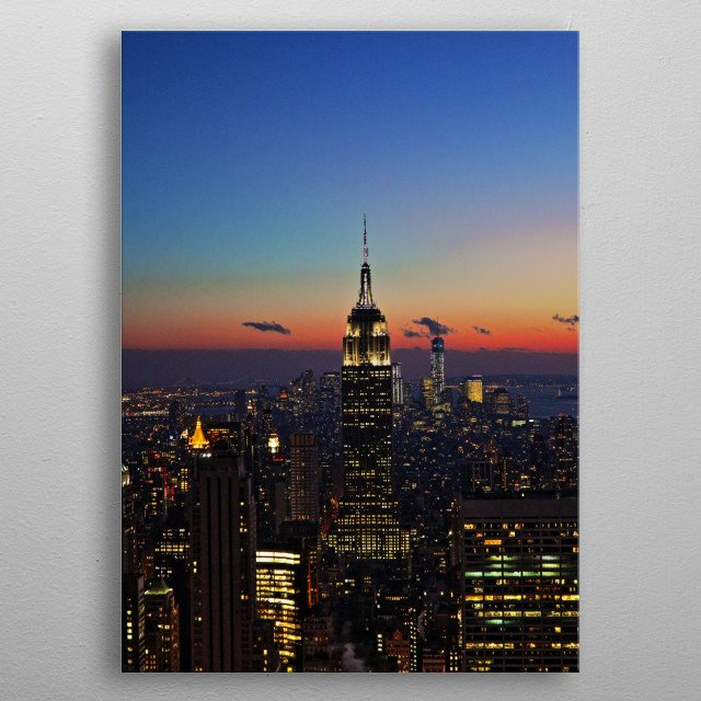 Empire State Building at Sunset/Twilight metal poster
