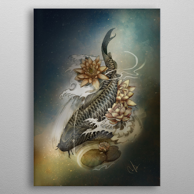 Koi and Lotus metal poster