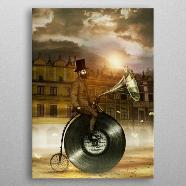 Music Man in the City a collaboration with Viviana Gonzalez metal poster